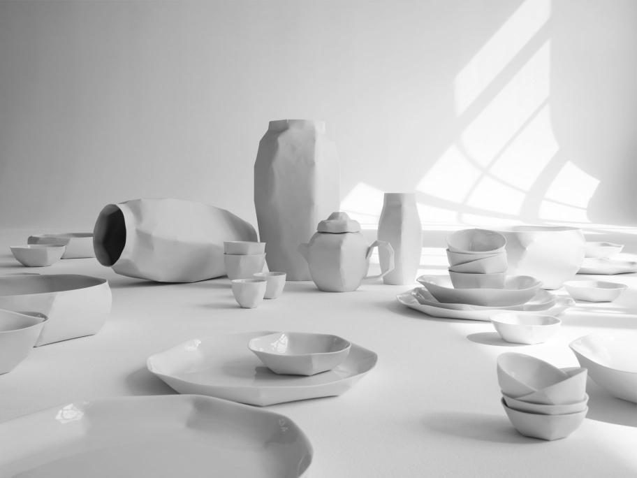 mood_lighscape nymphenburg ruth gurvich crumpled folded porcelain table setting home decor interior design bawarska porcelana luksusowa zastawa stolowa