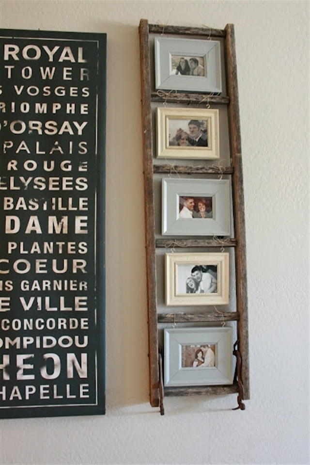 18_ramki_handmade_picture_frames_regal_z_drabiny_stara_drabina_we_wnetrzu_shabby_ladder_ideas_upcycled_ladder_bookshelf_reused_ladder_diy_decorating interior design projektowanie wnetrz p