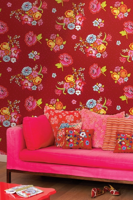 7_PiP_Studio interior design colorful room wallpaper kolorowe wnetrze tapeta w kwiaty