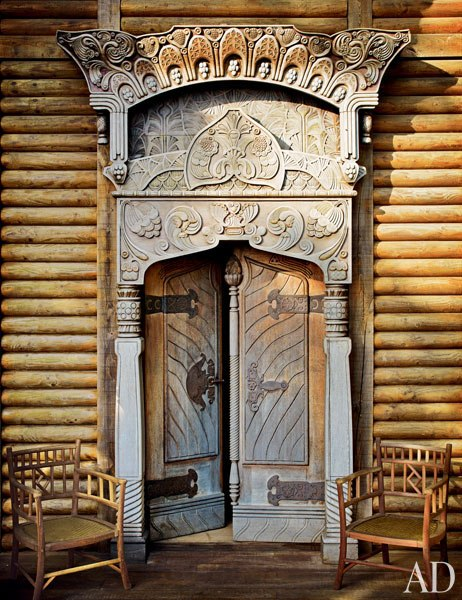 2 pierre berge la dacha normandy log house rustic home decor russian architecture  moroccan windows eastern rugs main entrance