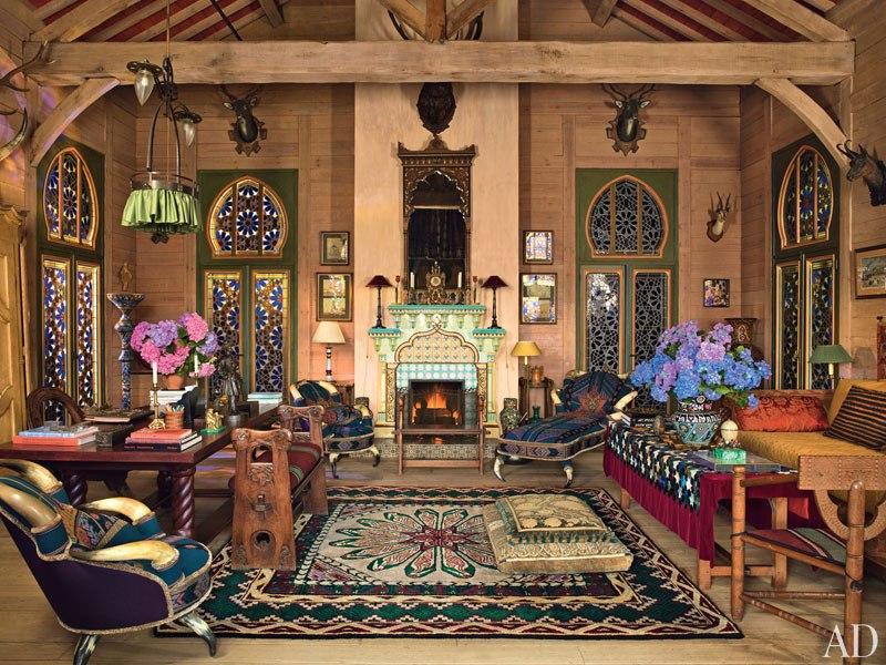 3 pierre berge la dacha normandy log house rustic home decor russian architecture  moroccan windows eastern rugs salon
