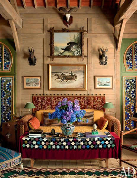 5 pierre berge la dacha normandy log house rustic home decor russian architecture  moroccan windows eastern rugs salon