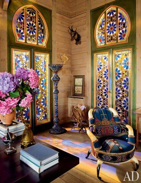 6 pierre berge la dacha normandy log house rustic home decor russian architecture  moroccan windows eastern rugs salon