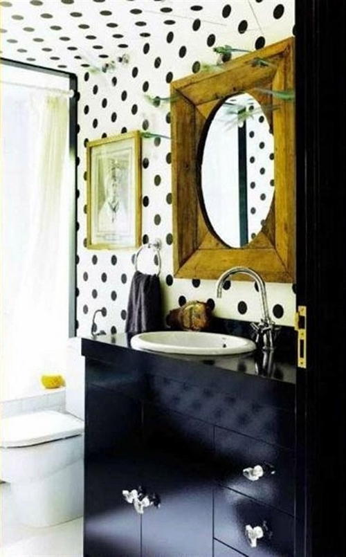 13 black and white polka dots home decoration interior design spotted ideas kropki we wnetrzu bialo czarne groszki w domu lazienka w kropki spotted bathroom