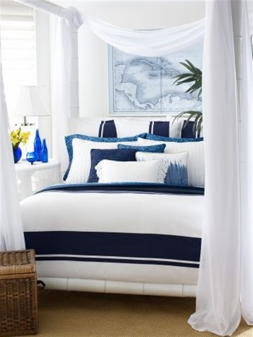 13 nautical interior seaside home style styl morski marynistyczny dom nad morzem blue red white trzy kolory niebieski bialy czerwony aranzacja wnetrz interior design marine bedroom