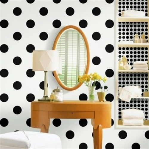 14 black and white polka dots home decoration interior design spotted ideas kropki we wnetrzu bialo czarne groszki w domu lazienka w kropki spotted bathroom