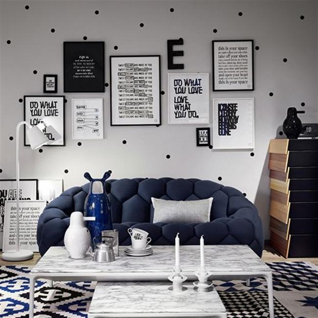 2 black and white polka dots home decoration interior design spotted ideas kropki we wnetrzu bialo czarne groszki w domu pokoj w kropki spotted living room hayon bouroullec