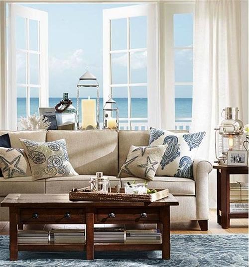 4 nautical interior seaside home style styl morski marynistyczny dom nad morzem blue red white trzy kolory niebieski bialy czerwony aranzacja wnetrz interior design marine livingroom