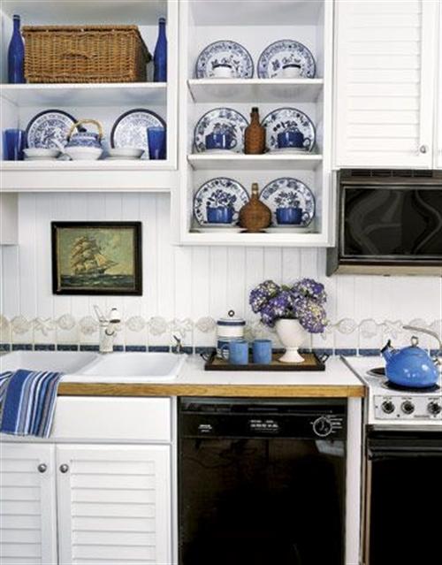 7 nautical interior seaside home style styl morski marynistyczny dom nad morzem blue red white trzy kolory niebieski bialy czerwony aranzacja wnetrz interior design marine kitchen