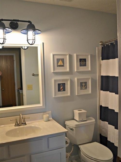 9 nautical interior seaside home style styl morski marynistyczny dom nad morzem blue red white trzy kolory niebieski bialy czerwony aranzacja wnetrz interior design marine bathroom