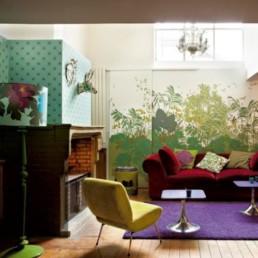 1 conceptuwall living room kitchen bedroom hall colorful apartment kolorowe mieszkanie kuchnia sypialnia marie claire maison french interior design projektowanie wnetrz niezwykle sciany i tapety francja