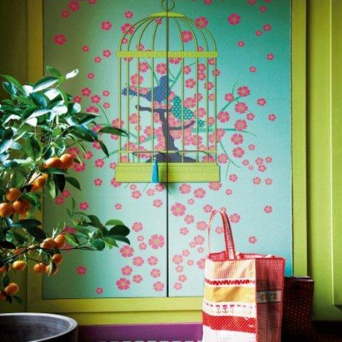 6 conceptuwall living room kitchen bedroom hall colorful apartment kolorowe mieszkanie kuchnia sypialnia marie claire maison french interior design projektowanie wnetrz niezwykle sciany i tapety francja