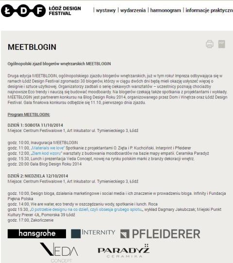 Lodz Design Festival Meetblogin program wyklad