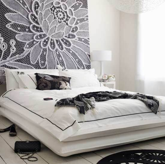 10 black flowers wall decoration interior design czarne kwiaty sciana naklejka tapeta projektowanie wnetrz