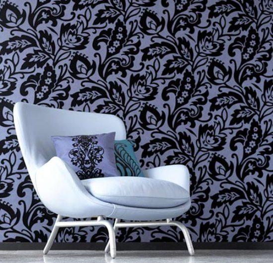 2 black flowers wall decoration interior design czarne kwiaty sciana naklejka tapeta projektowanie wnetrz