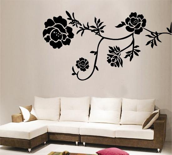 3 black flowers wall decoration interior design czarne kwiaty sciana naklejka tapeta projektowanie wnetrz