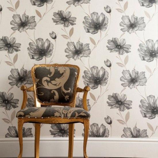 4 black flowers wall decoration interior design czarne kwiaty sciana naklejka tapeta projektowanie wnetrz