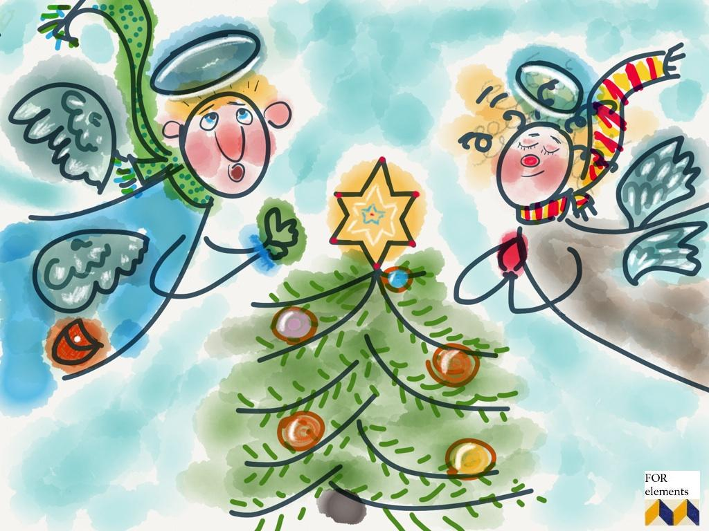 1 aniol swiety mikolaj choinka wigilia kartka swiateczna zyczenia na boze narodzenie xmas handmade selfdrawn postcard christmas wishes home decor interior design ozdoby na swieta projektowanie