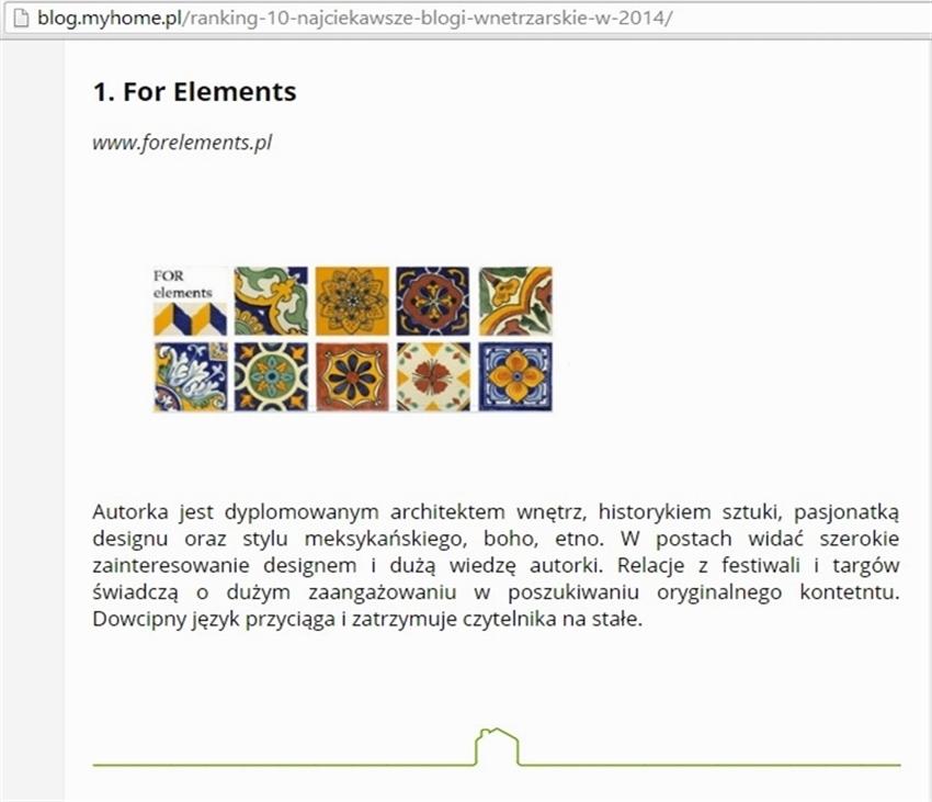 2 myhome_pl najlepsze polskie blogi o wnetrzach FORelements ranking blogow projektowanie wnetrz best polish interior design blogs ranking forum dobrego designu
