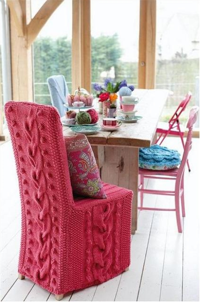 14 knit trend woolen covering furniture knitting home ideas home decor interior design welniany fotel robotki reczne diy