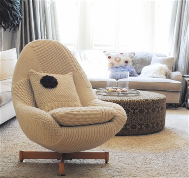 3 knit trend woolen covering furniture knitting home ideas home decor interior design welniany fotel robotki reczne diy