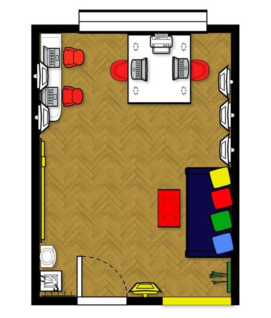 1 COVER projekt wnetrza male kolorowe biuro interior design small colorful office google style forelementspl