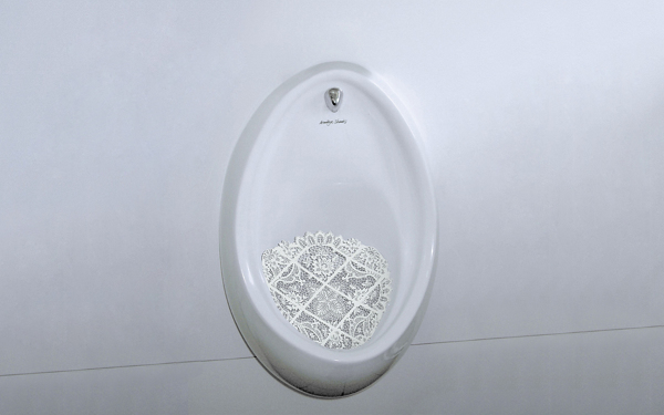 9 BRUSSELS LACE — Ornamental Urinal Screen hennes grebin german design new vintage