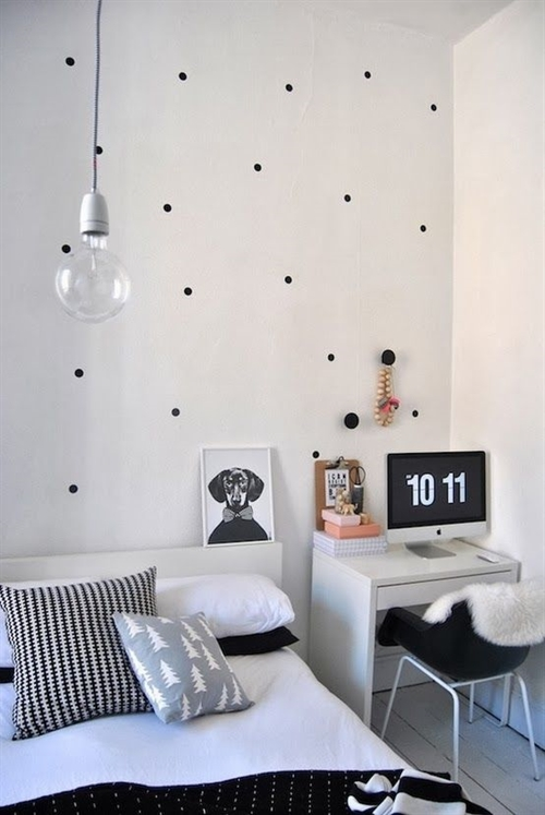 19 black and white polka dots home decoration interior design spotted ideas kropki we wnetrzu bialo czarne groszki w domu sypialnia w kropki spotted bedroom