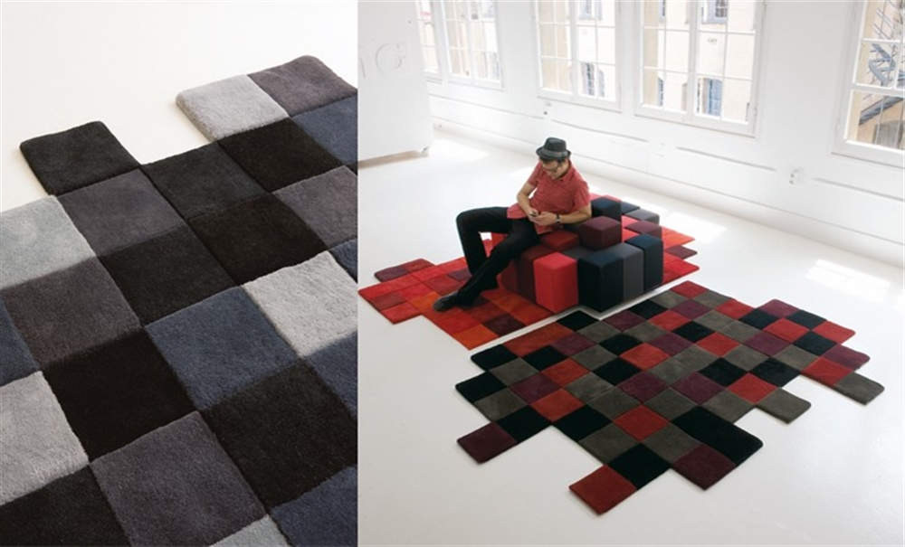 10 Nani Marquina Do-Lo-Rez Rug ron arad pixel art pixelated pattern wzor w piksele interior design home decor ideas urzadzanie mieszkania projektowanie wnetrz kolory w domu